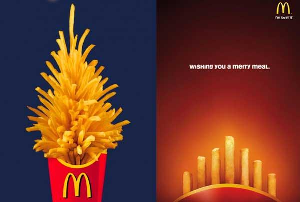 A Christmas tree and a Hanukkah menorah made of McDonald's french fries